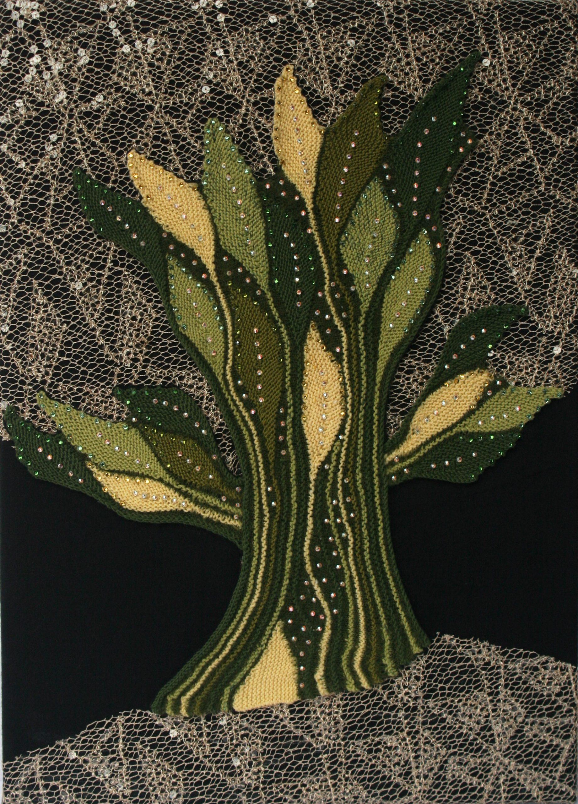"""Gabriele Tippel - Hier sieht man mein Wandbild """"Flammenbaum"""" in KlugeStrickArt"""