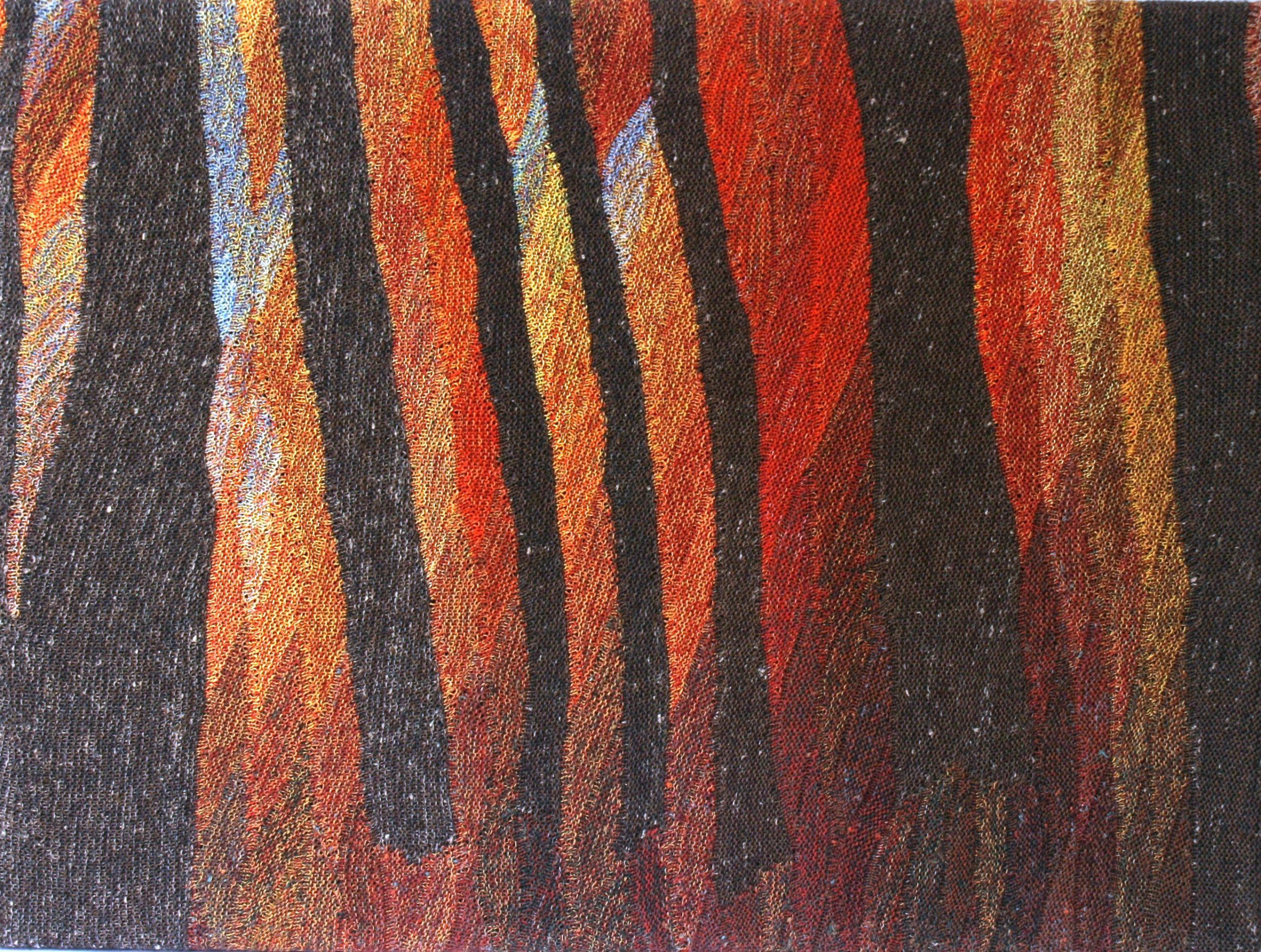 """Gabriele Tippel - Hier sieht man """"Mein Herbstwald"""" ein gestricktes Wandbild in KlugeStrickArt"""