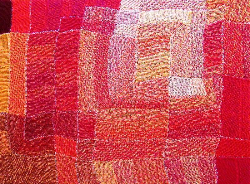 """Gabriele Tippel - Hier sieht man mein Wandbild """"Polyphon gefasstes Orange"""" in KlugeStrickArt"""