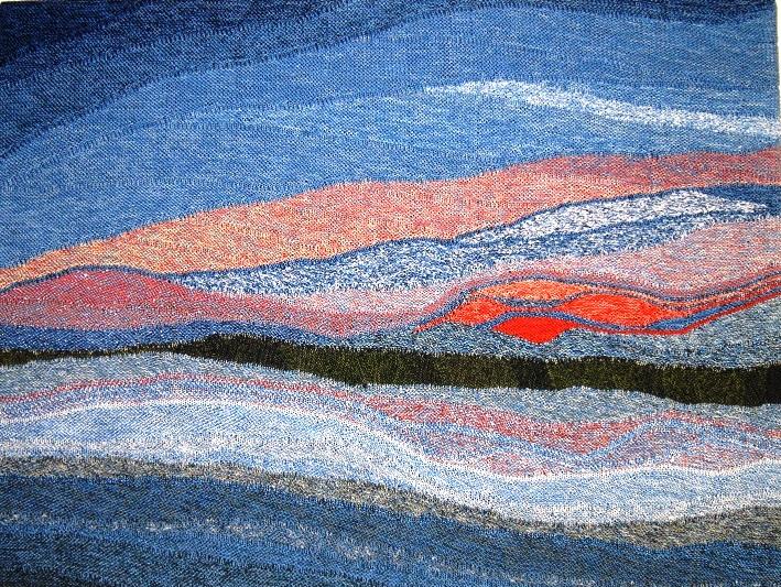 """Hier sieht man das gestrickte Wandbild """"Sonnenaufgang am Bodden"""" von Gabriele Tippel in KlugeStrickArt"""