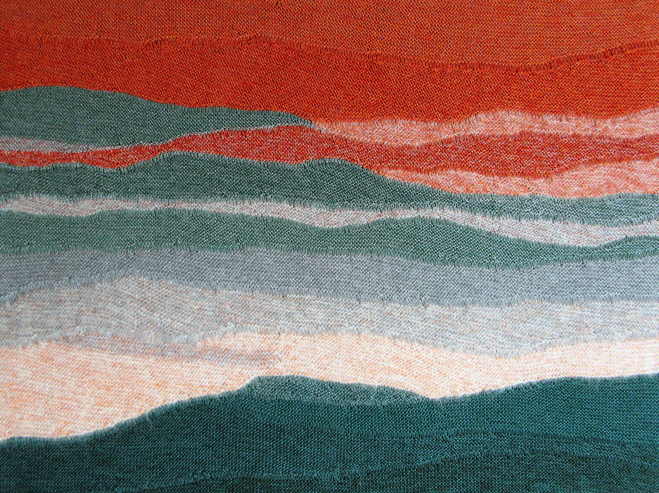"""Gabriele Tippel Hier sieht man mein gestricktes Wandbild """"Sonnenaufgang im Schwarzwald"""" in KlugeStrickArt"""