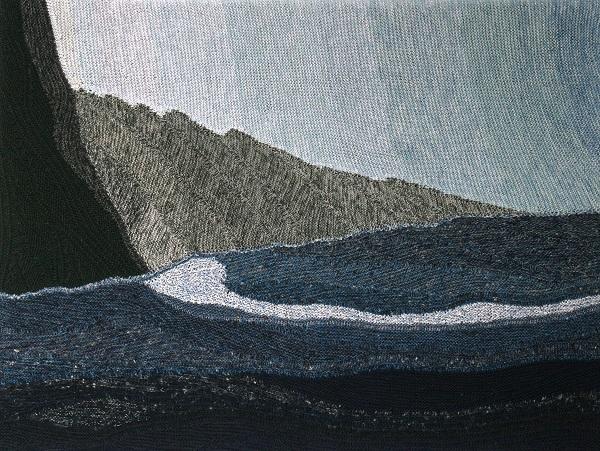 """Gabriele Tippel - Hier sieht man mein Wandbild """"Teneriffa"""" in KlugeStrickArt gestrickt nach einem eigenen Foto"""