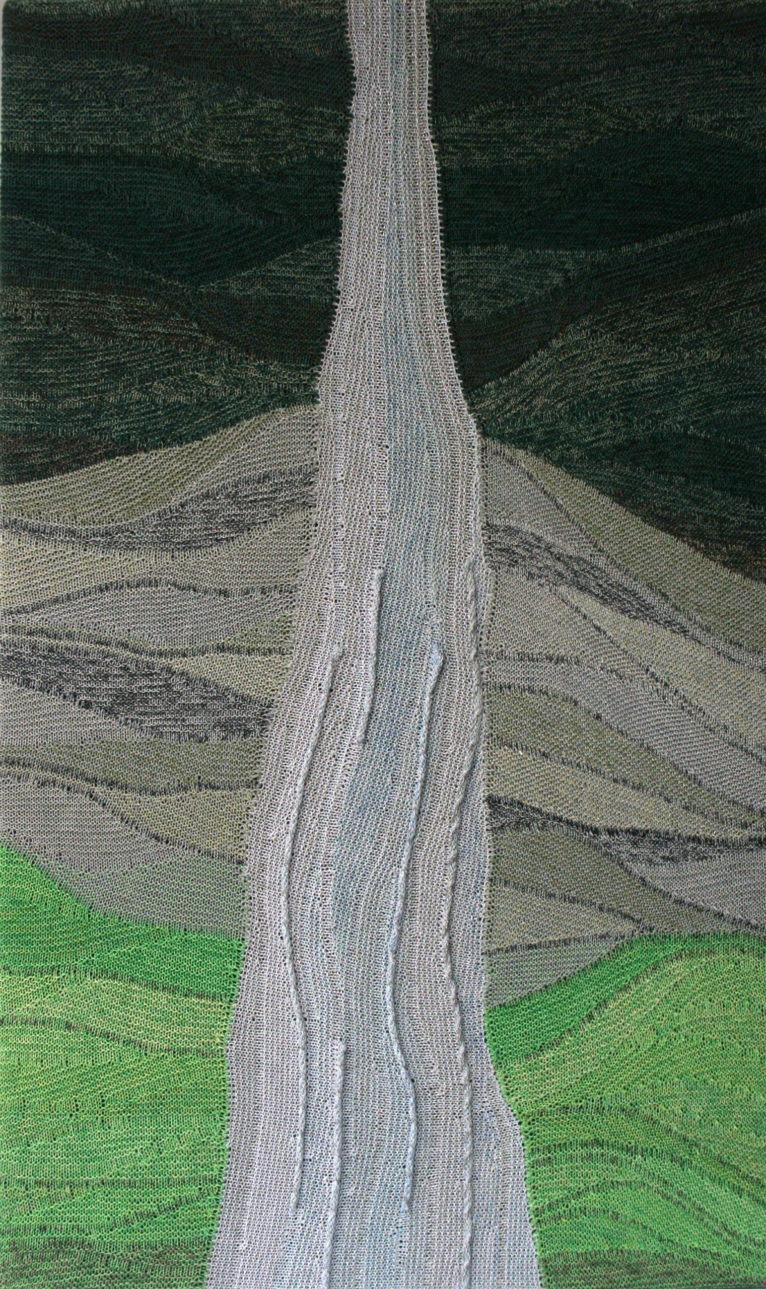 "Gabriele Tippel - Hier sieht man das Wandbild ""Mein Wasserfall"" in KlugeStrickArt"