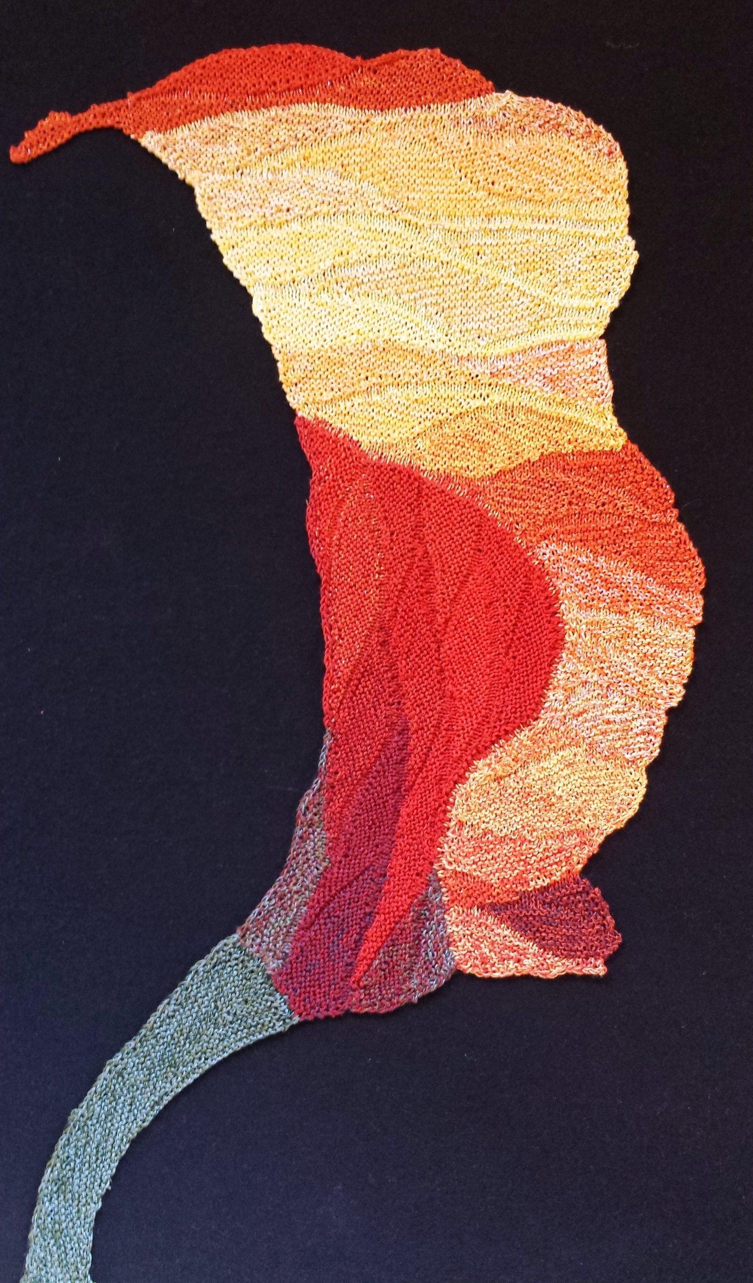 """Gabriele Tippel - hier sieht manmein Wandbild """"meine Callablüte"""" in KlugeStrickArt"""