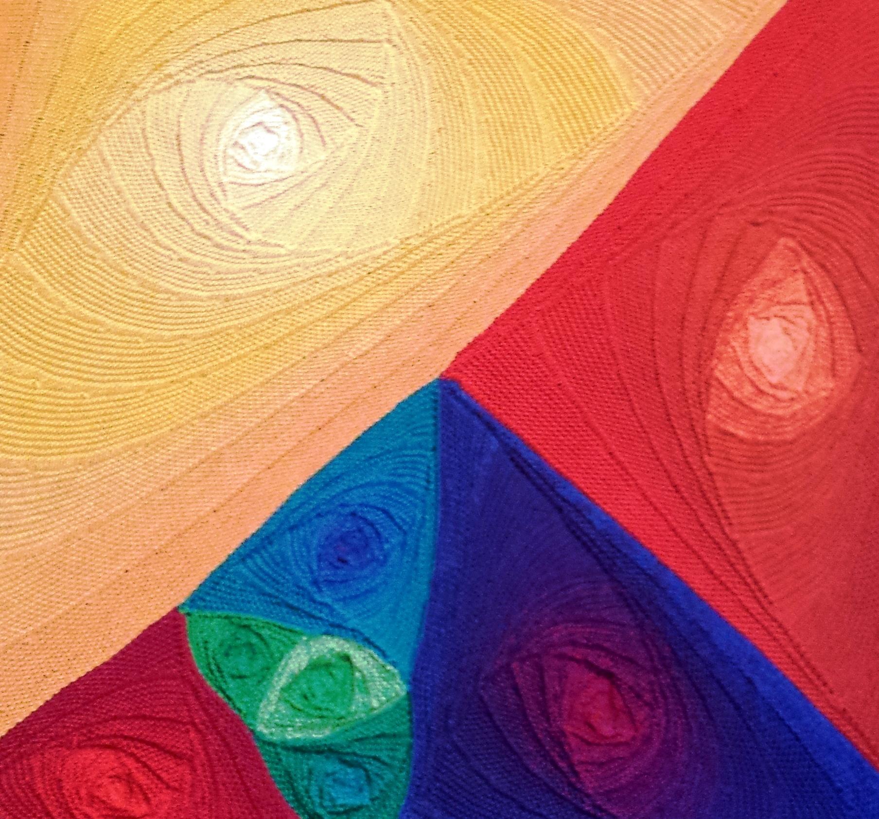 """Gabriele Tippelk - Hier sieht man mein gestricktes Bild """"Vulkanlandschaft"""" in KlugeStrickArt, das ich dreidimensional gearbeitet habe"""